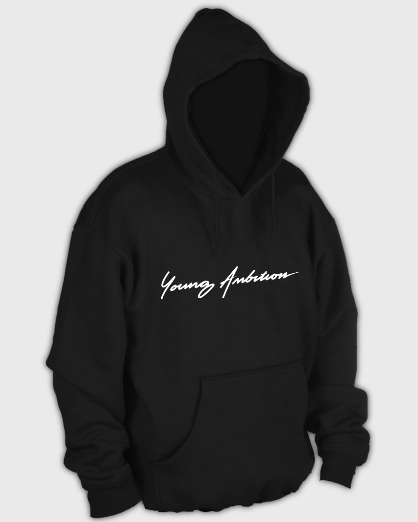 Young Ambition Cursive Hoodie Black