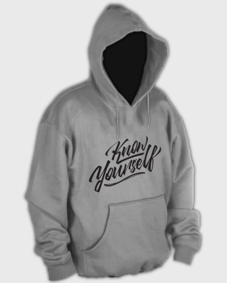 Know Yourself Cursive Hoodie Light Grey