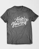 Know Yourself Cursive Tshirt Grey