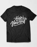 Know Yourself Cursive Tshirt Black
