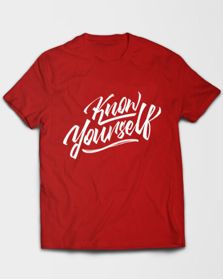 Know Yourself Cursive Tshirt Red