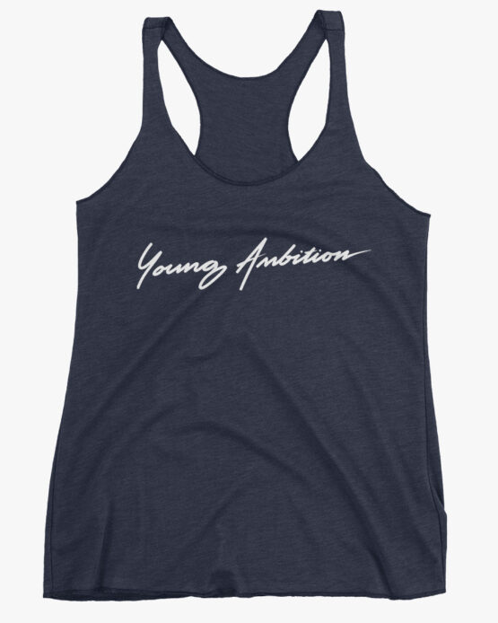 Young Ambition Cursive Women Tank Top Navy